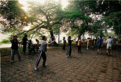 canh công vien buổi sáng Tả cảnh một buổi sáng trong công viên